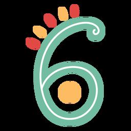 Nummer sechs Schriftzug im mexikanischen Stil