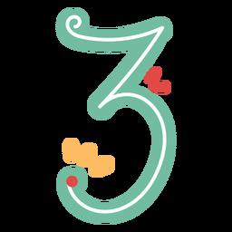 Nummer drei Schriftzug im mexikanischen Stil