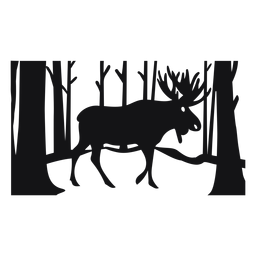 Moose forest cut out black