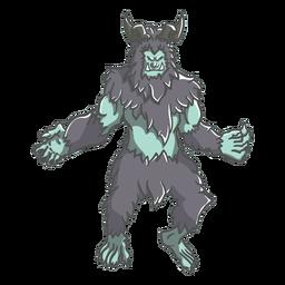 Mythical yeti posing