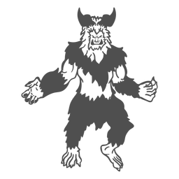 Mythical yeti posing cut out black