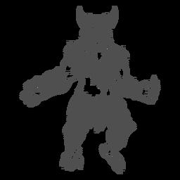 Yeti mítico posando recortado negro