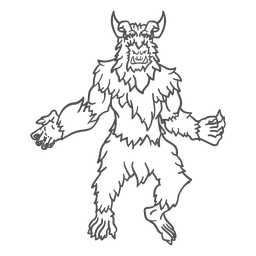Mythical yeti posing outline
