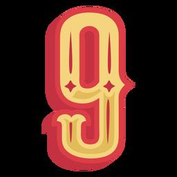 Number nine lettering