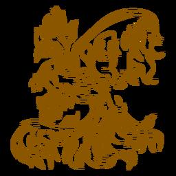 Phoenix volando perfil contorno marrón