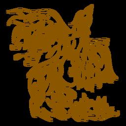 Fénix saliendo del contorno marrón fuego