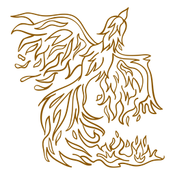 Phoenix rising from fire brown outline
