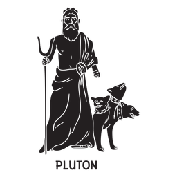 Pluton cerberus dibujado a mano cortado negro