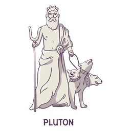 Pluton cerberus dibujado a mano gris