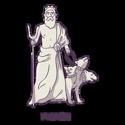 Pluton-cerberus Hand gezeichnetes Grau