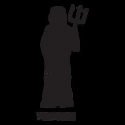 Poseidón tridente dibujado a mano cortado negro