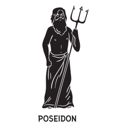 Poseidon tridente dibujado a mano recortado negro