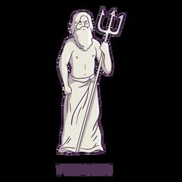 Poseidon tridente dibujado a mano gris