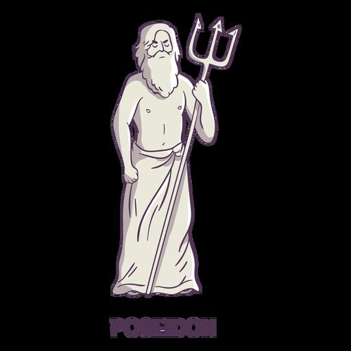 Poseidon tridente dibujado a mano gris Transparent PNG