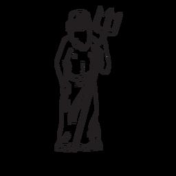 Contorno desenhado de mão Poseidon tridente