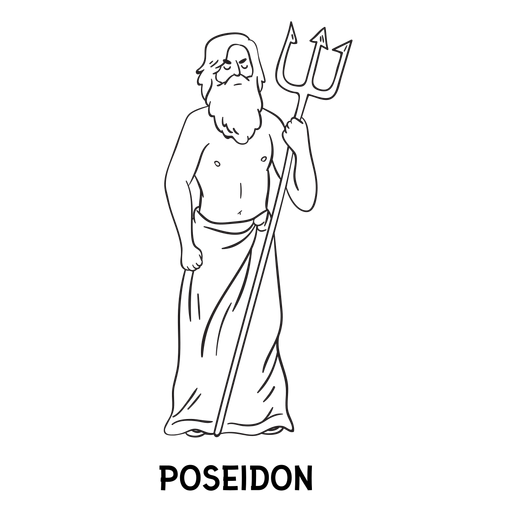 Esquema de Poseidón tridente dibujado a mano Transparent PNG