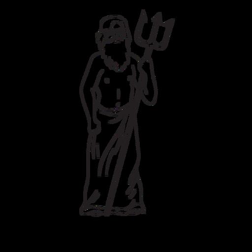 Poseidón tridente dibujado a mano contorno Transparent PNG