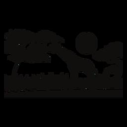 Safari jirafa puesta de sol recortada negro