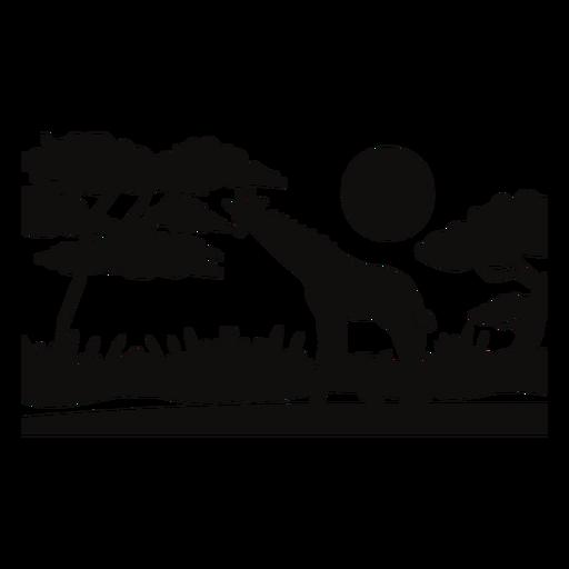 Safari giraffe sunset cut out black Transparent PNG