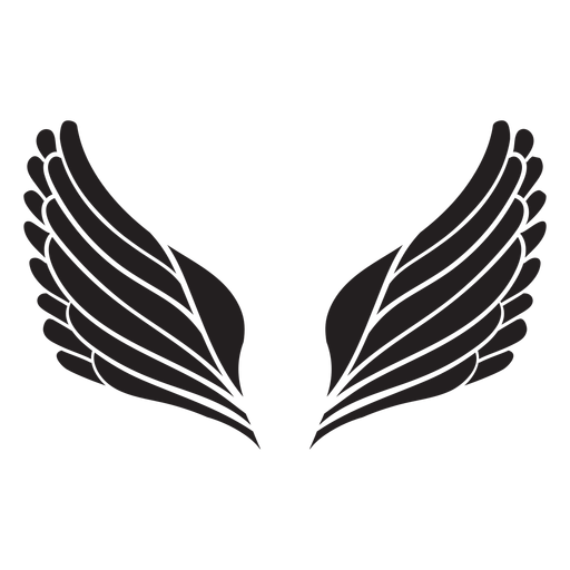 Simple angel wings cut out black Transparent PNG