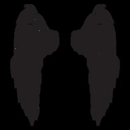Asas triangulares de anjo cortadas em preto
