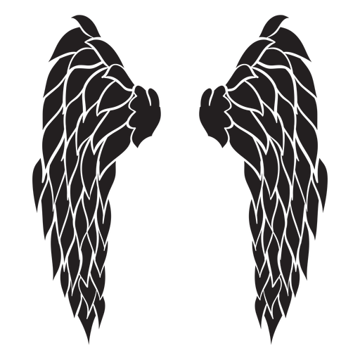 Triangular angel wings cut out black Transparent PNG