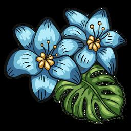 Arranjo de folhas de flores tropicais