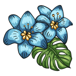 Flores tropicais com arranjo de folhas de lírio