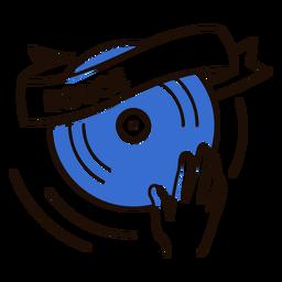 Símbolo de música em casa de toca-discos