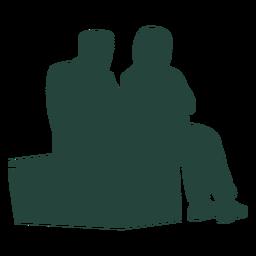 Dos adultos sentados banco silueta