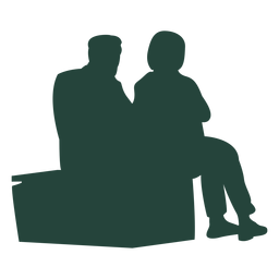 Two adults sitting bench silhouette