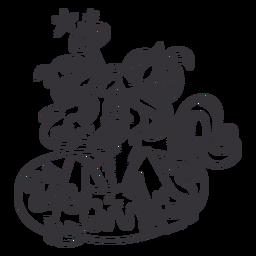 Anillo de nariz de unicornio donut contorno negro