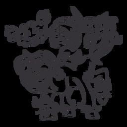 Argola de unicórnio em pé com contorno preto