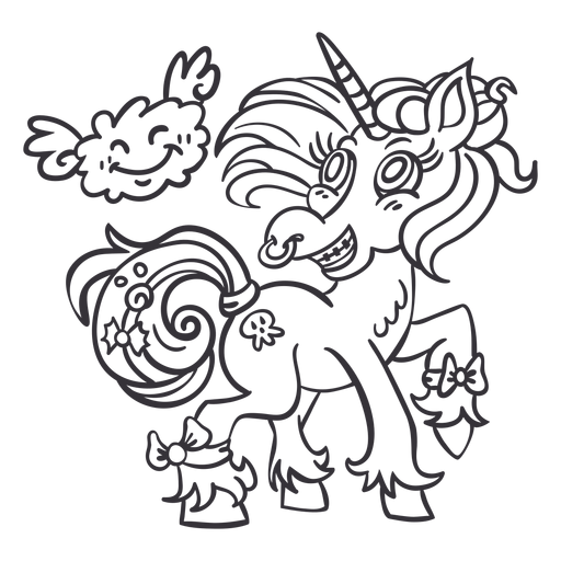 Anillo de nariz de unicornio de pie contorno negro Transparent PNG
