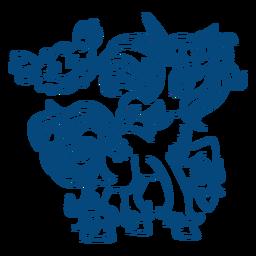 Anillo de nariz de unicornio de pie contorno azul