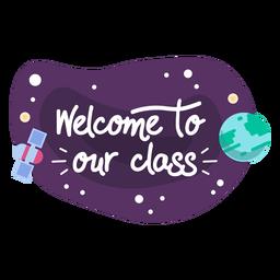 Bem-vindo, classe, espaço, adesivo, ícone