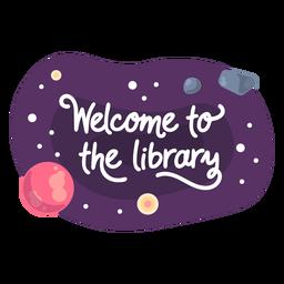 Bem-vindo, biblioteca, espaço, adesivo, ícone