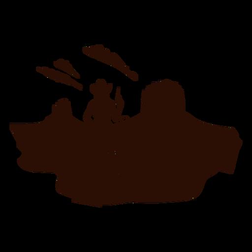 Escena del desierto vaquera occidental recortada en negro
