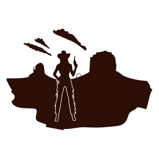 Western cowgirl desert scene cut out black