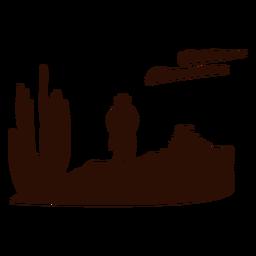 Escena del desierto occidental recortada negro