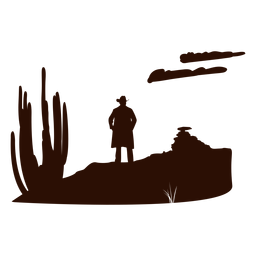 Western desert scene cut out black