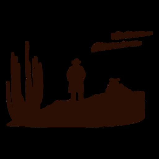 Escena del desierto occidental recortada en negro