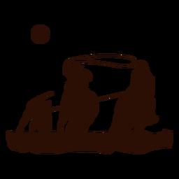 Escena del lazo occidental cortada en negro