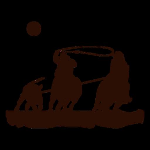 Escena de lazo occidental recortada en negro Transparent PNG