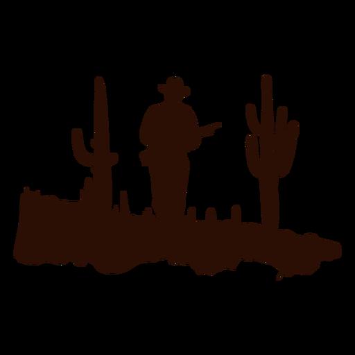 Western ranger patrolling scene cut out black