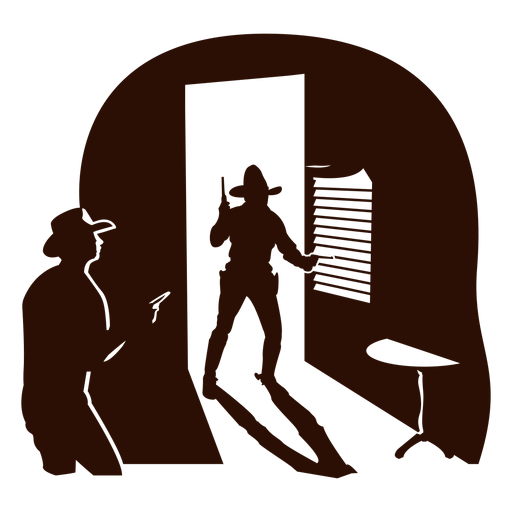 Western saloon scene cut out black Transparent PNG