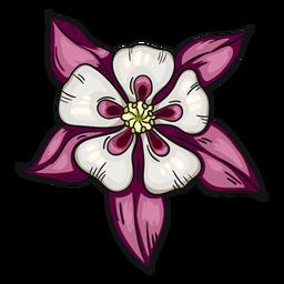 Flor silvestre blanco violeta aguileña