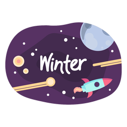 Winter space sticker icon