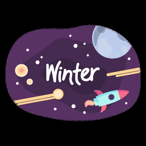 Winter space sticker icon
