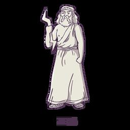 Zeus mão desenhada cinza